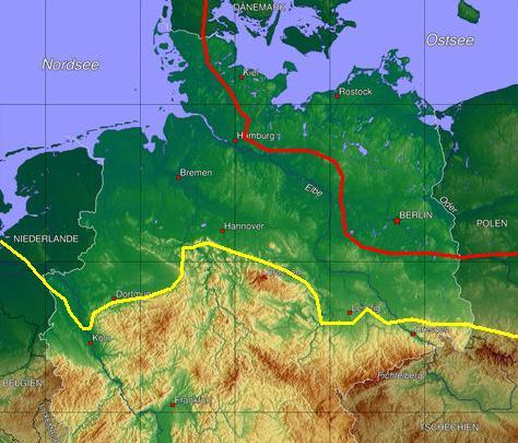 Die rote Linie zeigt die maximale Ausdehnung des Nord-Gletschers während der Weichsel-Kaltzeit.